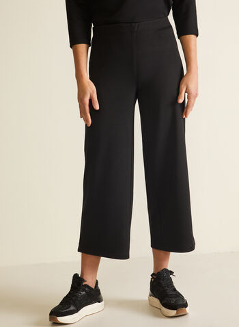 Pull-On Wide Leg Pants, Black,  pants, pull-on, wide leg, ponte di roma, fall winter 2020