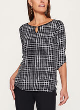 3/4 Sleeve Graphic Print Top, Black, hi-res