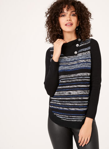 Striped Rib-Knit Sweater, Blue, hi-res