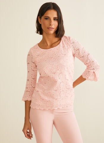 Elbow Sleeve Crochet Lace Top, Pink,  top, blouse, crochet, knit, elbow sleeves, ruffled, scalloped, spring summer 2020