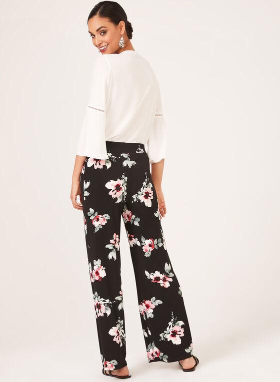 Pantalon coupe moderne floral à jambe large, Noir, hi-res