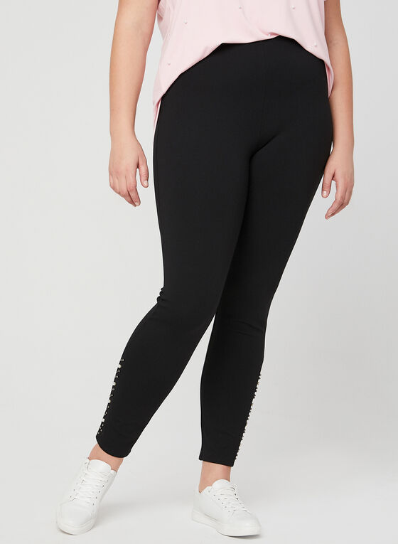 Pearl Detail Leggings, Black
