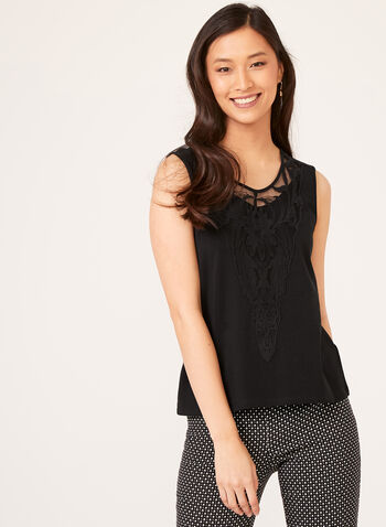 Embroidered Detail Tank Top, Black, hi-res