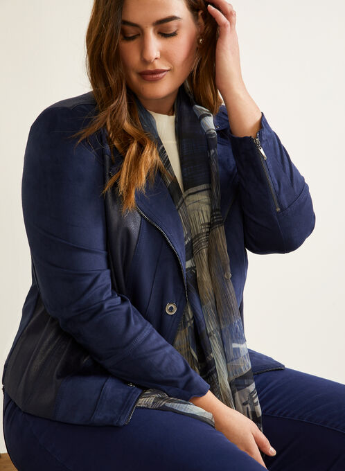 Faux Leather Jacket, Blue