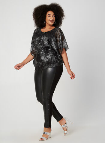 Compli K - Mesh Poncho Top, Black, hi-res,  fall winter 2019, made in Canada, Jersey, mesh overlay,