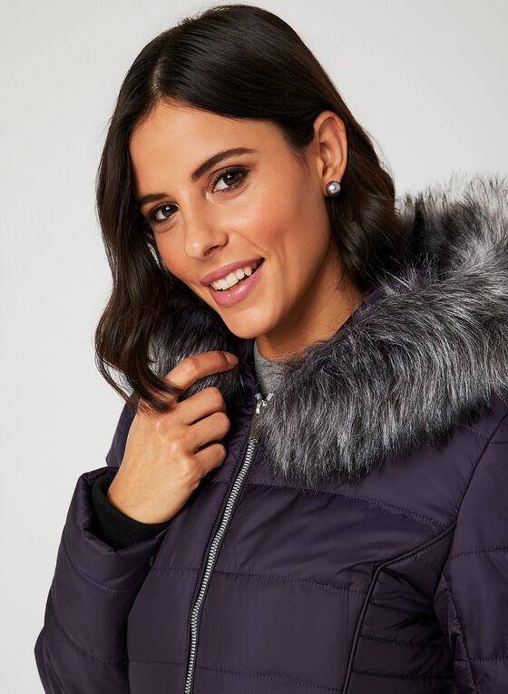 Manteau en duvet avec capuchon en fausse fourrure, Violet, hi-res