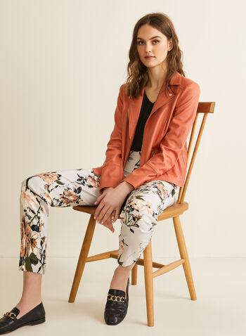City Fit Slim Leg Pants, Grey,  spring summer 2020, slim leg, bengaline fabric, pull-on, floral print, made in Canada