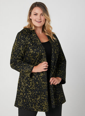 Leopard Print Duster Jacket, Black, hi-res,  long sleeves, notch collar, long jacket, leopard print, animal print, fall 2019, winter 2019