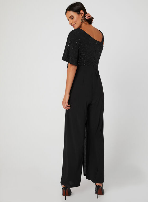 Sequin Poncho Jumpsuit, Black, hi-res