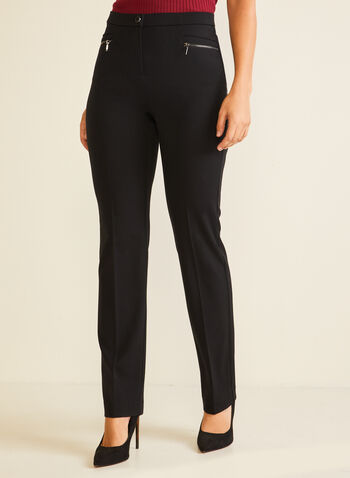 Signature Fit Straight Leg Pants, Black,  pants, signature, straight, zipper, bi-stretch, fall winter 2020