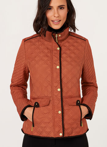 Weatherproof - Diamond Quilted Stand Collar Coat, Orange, hi-res