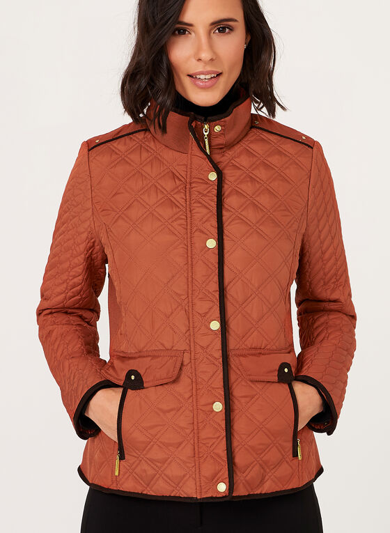Weatherproof - Manteau matelassé à col montant, Orange, hi-res