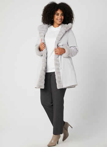 Nuage - Reversible Hooded Coat, Silver,  faux fur coat
