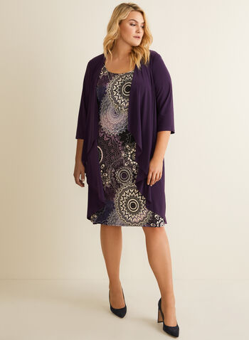 Cardigan & Floral Dress Set, Purple,  ensemble, set, dress, cardigan, floral, necklace, duster, 3/4 sleeves, sleeveless, spring summer 2020