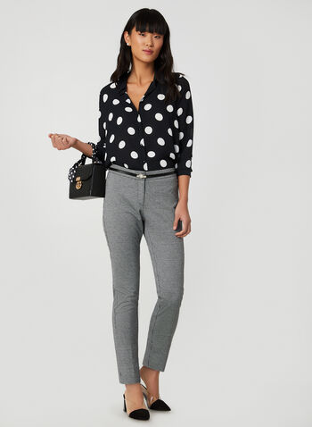 Polka Dot Print Crepe Blouse, Black,  blouse, long sleeves, shirt collar, button cuffs, button down, polka dot print, crepe, fall 2019, winter 2019
