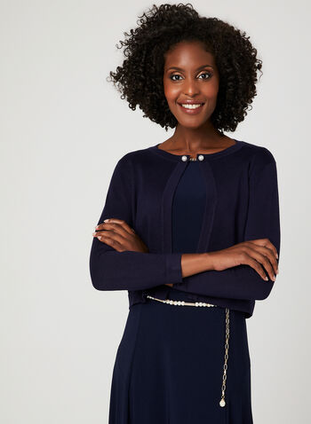 Nina Leonard – Pearl Clasp Knit Bolero, Blue, hi-res