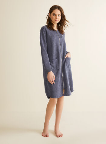 Claudel Lingerie - Zip-Up Robe, Blue,  robe, sleepwear, zip-up, crew neck, pockets, long sleeves, spring summer 2020