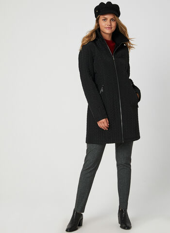 BCBGeneration - Fleece Lined Quilted Coat, Black,  quilted, fall winter 2019, fleece, removable hood