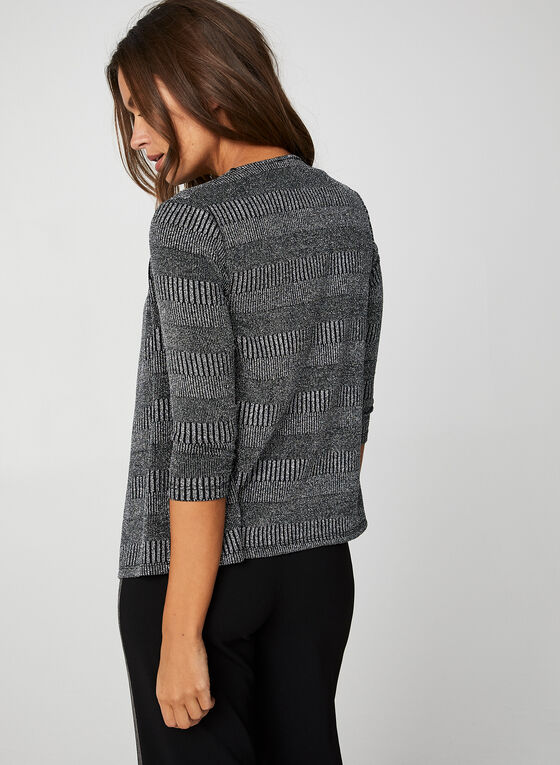 Metallic Knit Open Front Top, Grey