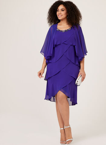 Tiered Chiffon Dress With Bolero, Blue, hi-res