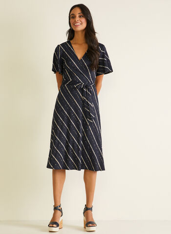 Stripe Print Short Sleeve Dress, Blue,  day dress, belt, striped, short sleeves, ruffled, spring summer 2020