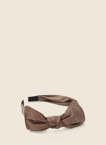Bow Top Headband, Brown,  headband, bow, metallic, spring summer 2020