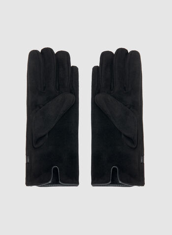 Faux Suede Gloves, Black, hi-res
