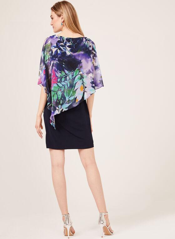 Tropical Print Cold Shoulder Poncho Dress, Blue, hi-res