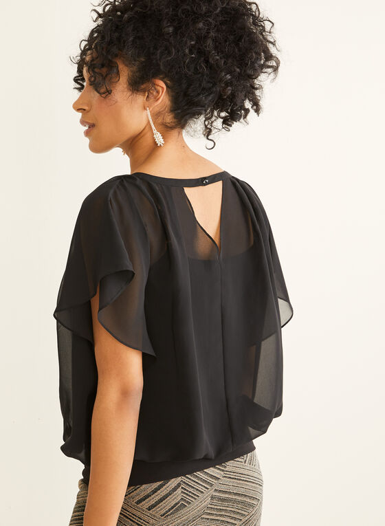 Chiffon Faux Wrap Blouse, Black