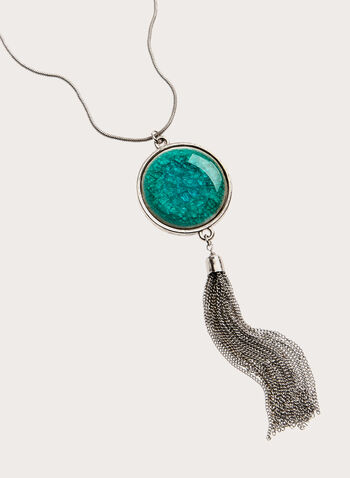 Tassel Pendant Necklace, Blue, hi-res