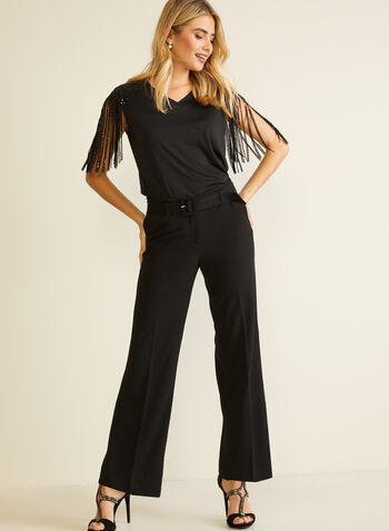Sequin Fringe Detail Top, Black,  top, sleeveless, fringe, sequin, fall winter 2020