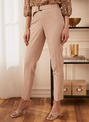 Pantalon jambe droite à enfiler, Beige,  pantalon, jambe droite, coupe moderne, pull-on, à enfiler, ganses, ceinture, boucle, poches passepoilées, élastique, printemps été 2021