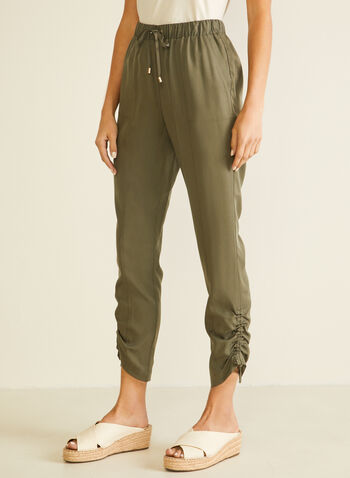 Drawstring Detail Tencel Pants, Green,  pants, straight, drawstring, modern, pull-on, pockets, tencel, spring summer 2020