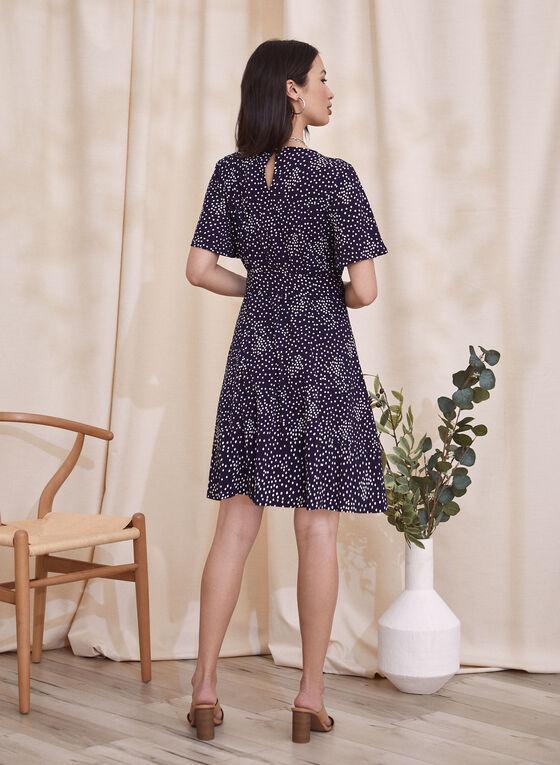 Dot Print Fit & Flare Dress, Blue