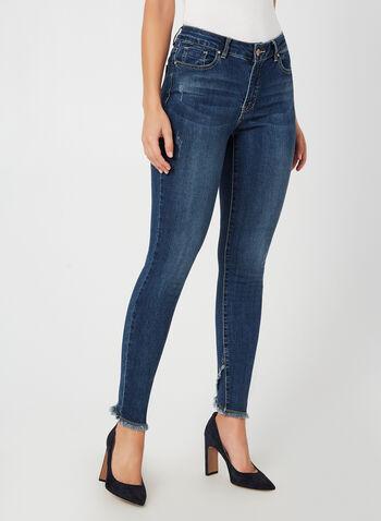 Charlie B - Jeans coupe moderne effrangé, Bleu, hi-res,  automne hiver 2019, jeans, jean, denim, franges, jambe étroite, délavé, coupe moderne