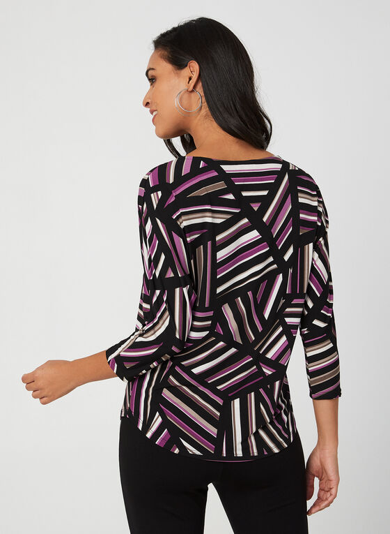Geometric Stripe Print Top, Black