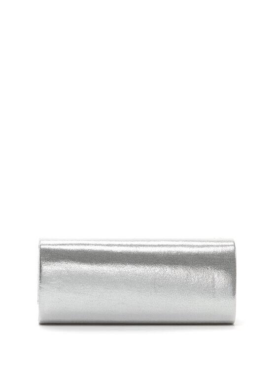 Crystal Embellished Silver Clutch, Silver, hi-res