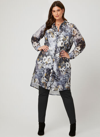 Floral Print Chiffon Tunic, Grey, hi-res