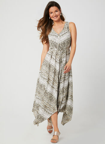 Emma & Michele - Snake Print Sleeveless Dress, Brown, hi-res