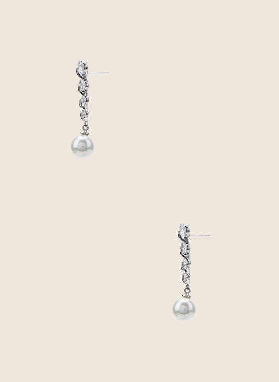 Pearl & Crystal Dangle Earrings, Off White