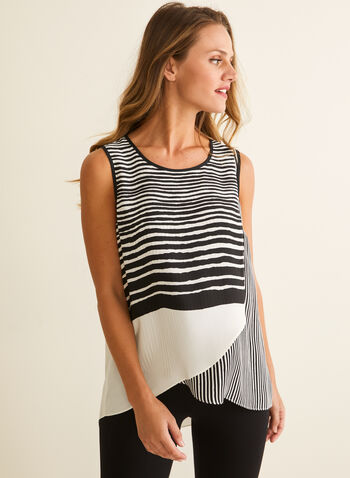 Striped Asymmetric Blouse, White,  top, blouse, crepe, asymmetric, sleeveless, striped, spring summer 2020