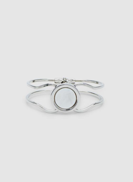 Bracelet en métal avec détail cercle, Blanc