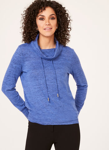 Cowl Neck Drawstring Knit Sweater, Blue, hi-res