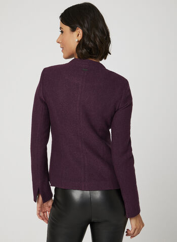Cropped Wool Jacket, Purple, hi-res