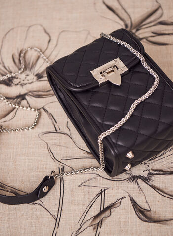 Handbag cross body Hand Bags, Black,  spring summer 2021, accessory, accessories, mobile bag, cellphone bag, shoulder strap bag, chain link, rectangle, flap closure, quilts