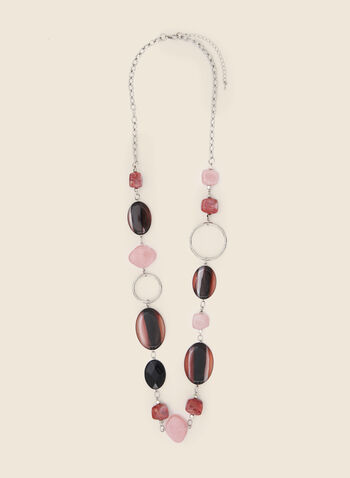 Coloured Resin Stone Necklace, Pink,  necklace, stone, resin, colour, chain, fall winter 2020