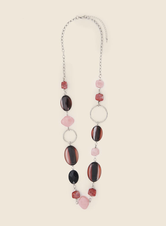 Coloured Resin Stone Necklace, Pink