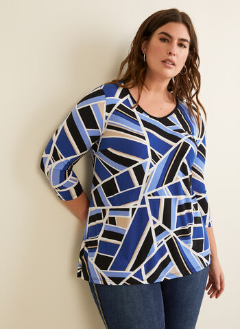 Geometric Print Top, Blue,  canada, top, print top, geometric print, print, lightweight, comfortable, v-neck, 3/4 sleeves, spring, summer