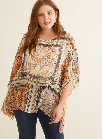 Floral Chiffon Poncho Blouse, White,  blouse, poncho, chiffon, jersey, sleeveless, floral, pattern, spring summer 2020