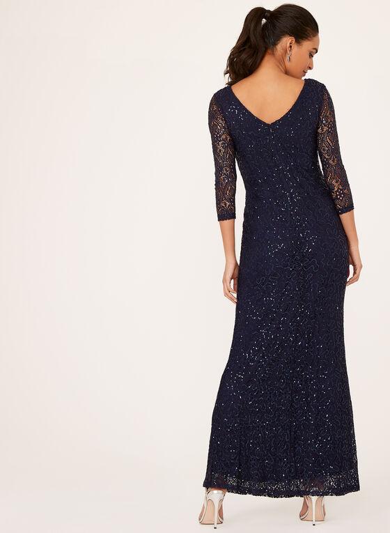 Marina - Sequin Lace A-Line Dress, Blue, hi-res